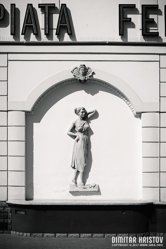 Sculpture on the wall photography urban black and white  Photo