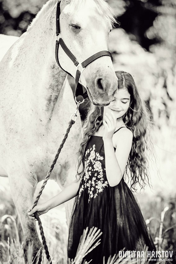 Young Girl with beautiful white horse photography featured equine photography black and white  Photo