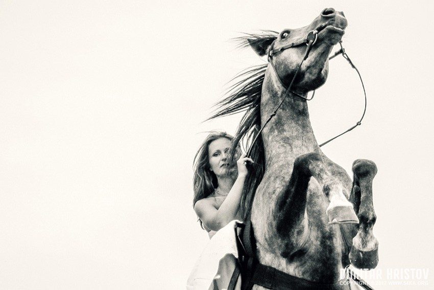 Young woman on rearing up beautiful horse photography featured equine photography black and white animals  Photo