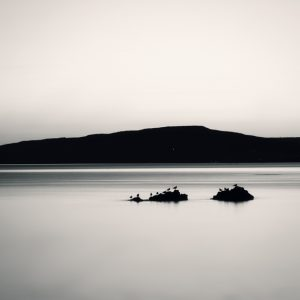 Minimalist black and white landscape