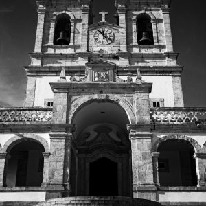 Nazare Portugal – Church of Nossa Senhora -Black and White