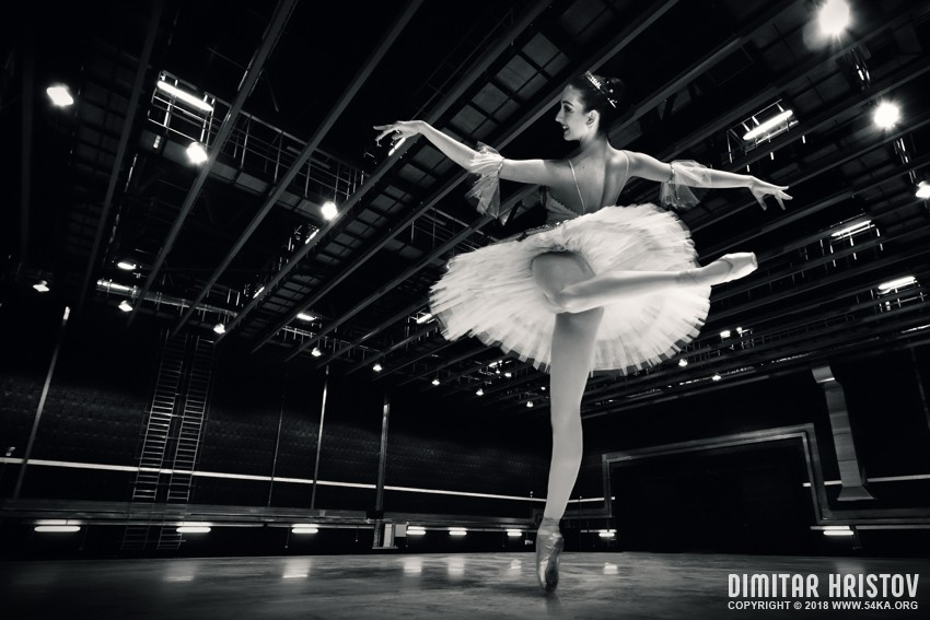 Ballerina in the white tutu photography stage featured black and white  Photo