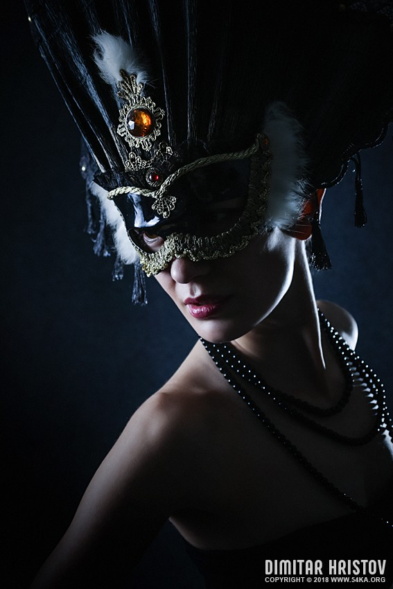 Beauty model wearing venetian masquerade carnival mask photography venetian eye mask portraits featured fashion  Photo