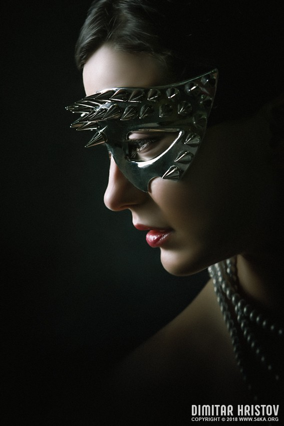 Silver Spike Eye Mask photography venetian eye mask portraits featured fashion  Photo