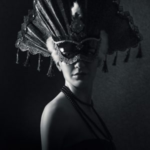 Beautiful Girl With Venetian Carnival Mask in Black and White