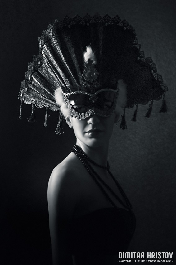 Beautiful Girl With Venetian Carnival Mask in Black and White photography portraits featured fashion black and white  Photo