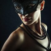 Beautiful Woman Wearing Venetian Carnival Mask