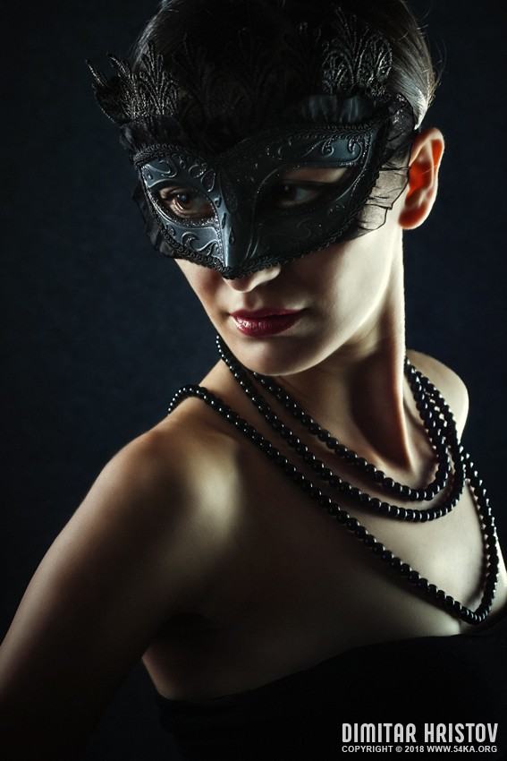 Beautiful Woman Wearing Venetian Carnival Mask photography portraits featured fashion  Photo