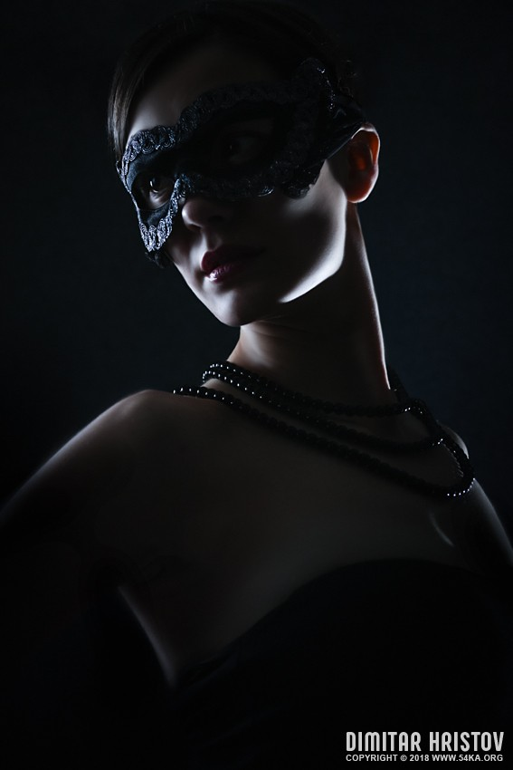 Mysterious Woman With Black Mask photography portraits featured fashion  Photo