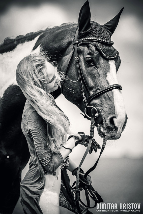 Girl With Paint Horse Portrait photography portraits featured black and white animals  Photo