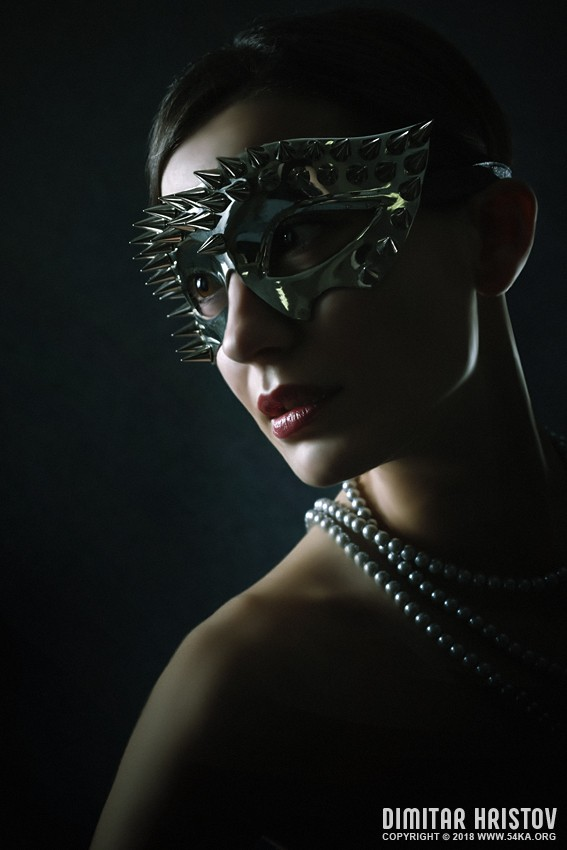 Silver Spike Face Mask photography venetian eye mask portraits fashion  Photo