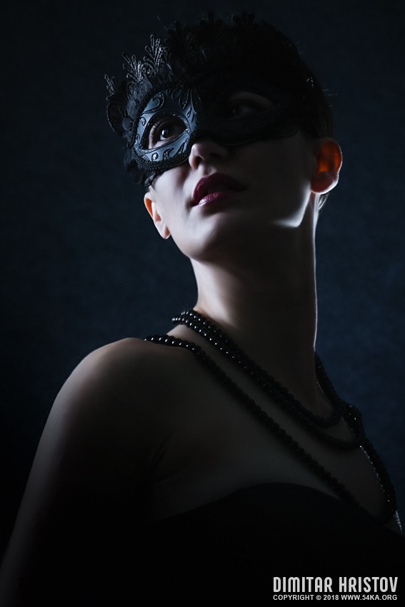 The Black Mask   Girl Masquerade photography venetian eye mask fashion  Photo
