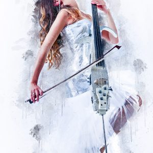 Woman Playing Cello – Fashion Art Music Portrait