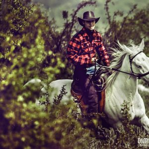 Cowboy Riding Horse On Field