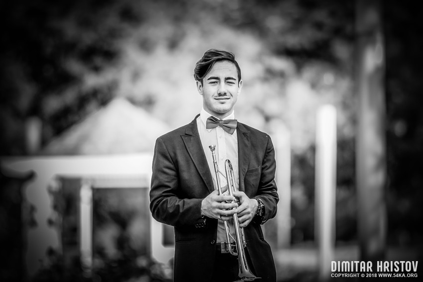 Boy With Trumpet photography portraits black and white  Photo