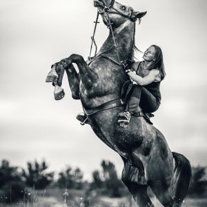 Girl and Rearing Up Horse