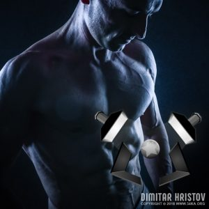 Portrait of strong Athletic Fitness Man – Strobist Setup – Lighting Scheme