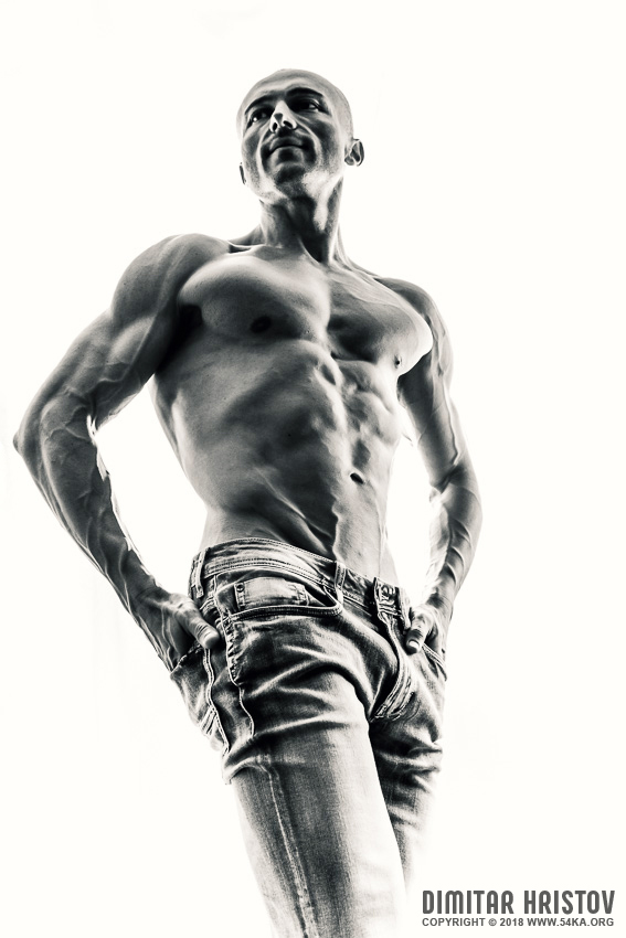 Strong Athletic Man Fitness Model photography portraits featured black and white  Photo