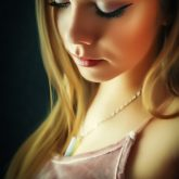 Gentle portrait of a girl with closed eyes