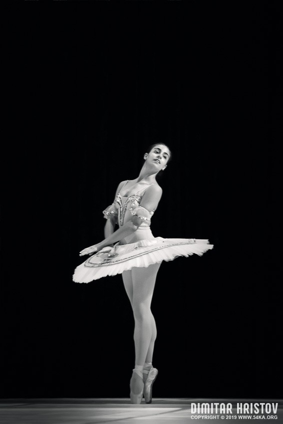 Young ballerina dancer in tutu performing photography stage black and white  Photo