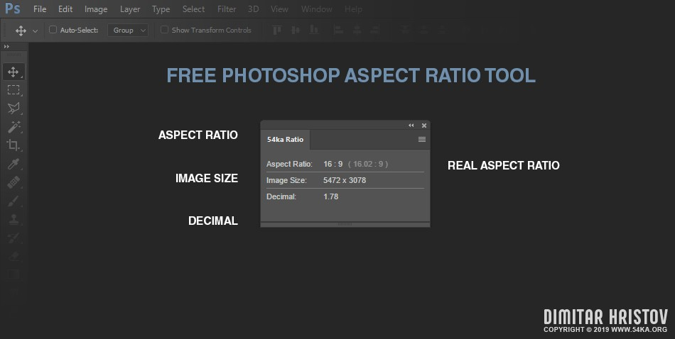 Photoshop Aspect Ratio Tool   Free Photoshop Plugin by 54ka apps adobe extensions  Photo
