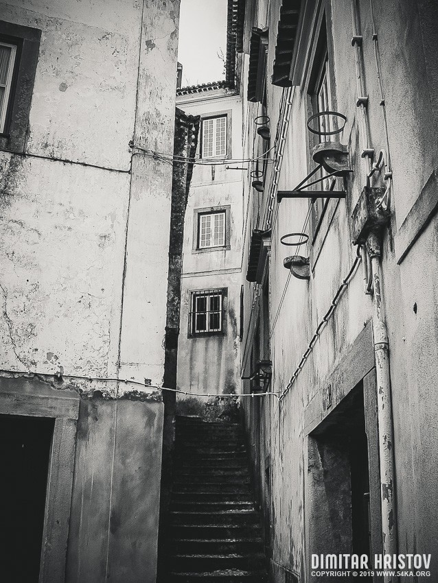 Street in the Old Town in Lisbon   Portugal photography urban black and white  Photo
