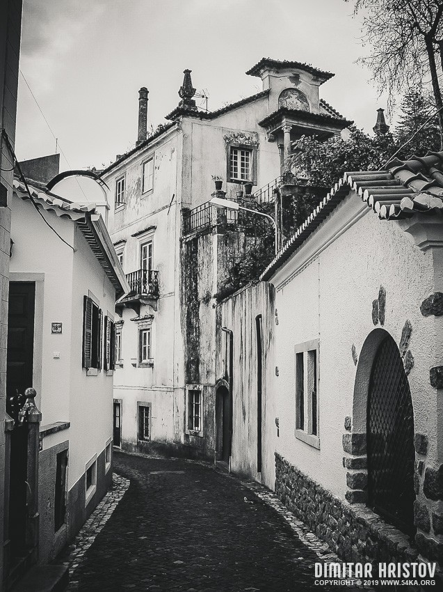Street view with beautiful old buildings in Lisbon photography urban black and white  Photo