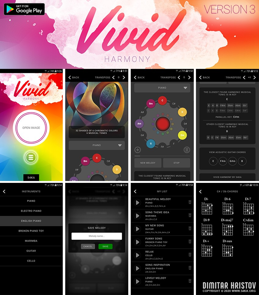 Vivid Harmony   Convert colors to musical tones apps applications  Photo