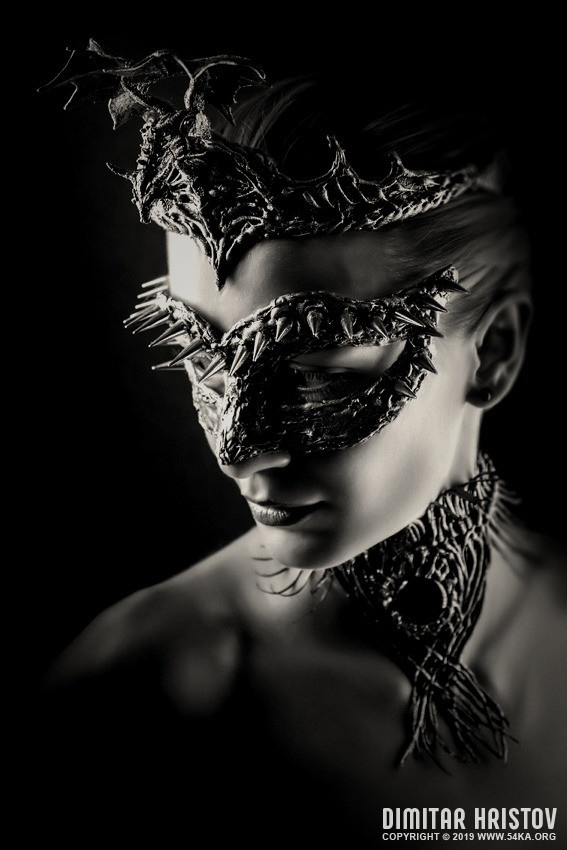 Dragon Queen   Vintage eye mask photography venetian eye mask featured fashion black and white  Photo