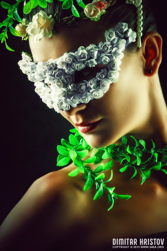 Flower Princess   Woman wearing masquerade carnival mask photography portraits featured fashion  Photo