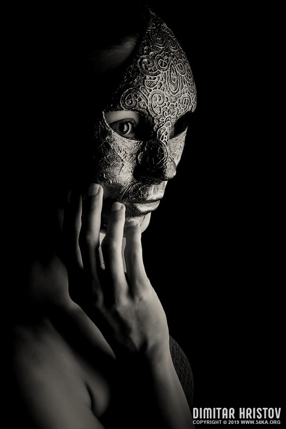 Mask in hand   Fashion portrait of lady with mask photography portraits featured fashion black and white  Photo