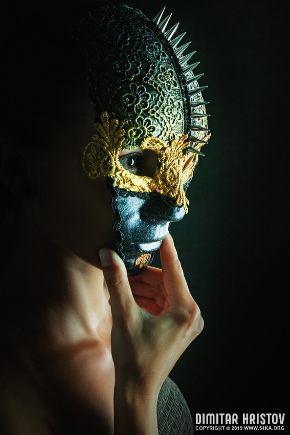 A mysterious woman with a full mask photography venetian eye mask featured fashion  Photo