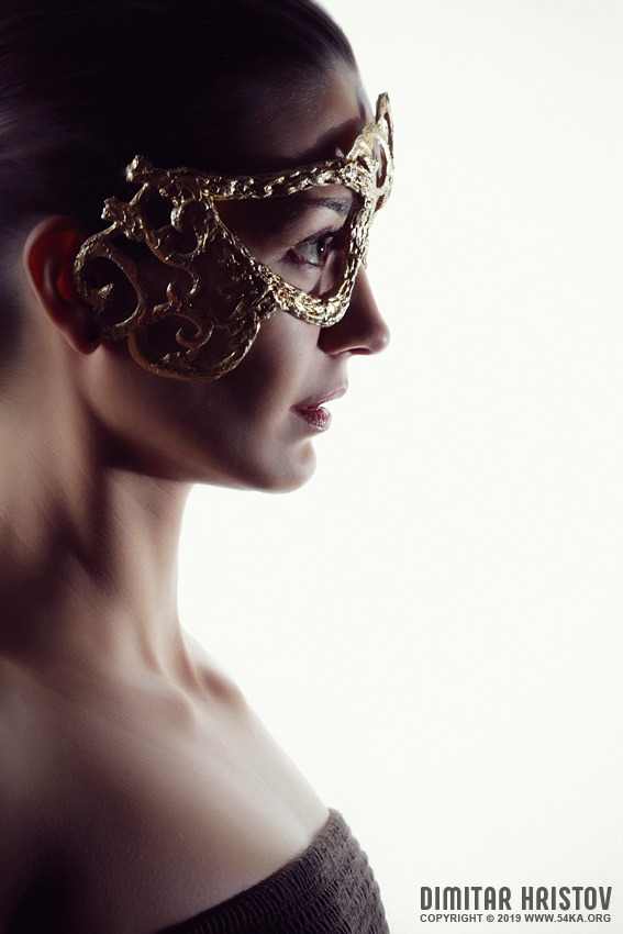 Beautiful girl with an elven eye mask photography venetian eye mask portraits featured fashion  Photo