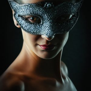 Girl with crystal venice eye mask