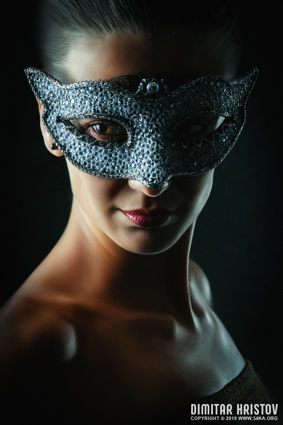 Girl with crystal venice eye mask photography portraits featured fashion  Photo