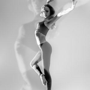 Modern ballet dancer – high key studio shot