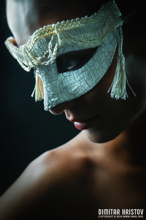 Mystery girl with white mask on black background photography venetian eye mask featured fashion  Photo