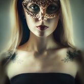Beautiful woman portrait with gold venetian mask