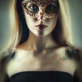 Beautiful woman portrait with gold venetian mask