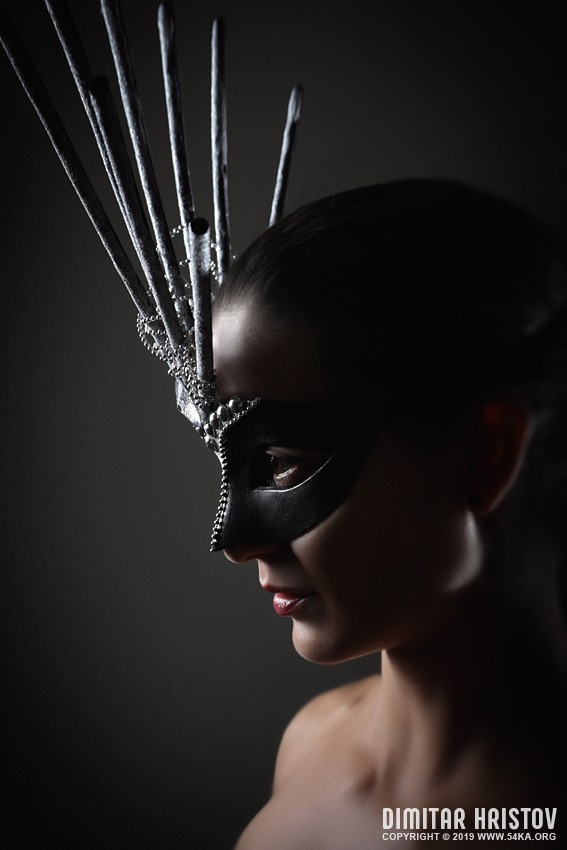 Portrait of young girl with conceptual carnival mask photography venetian eye mask featured fashion  Photo
