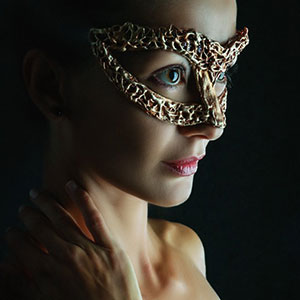 Venetian carnival jewelry face mask
