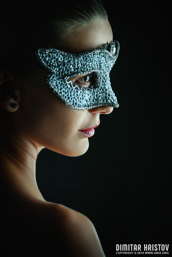 Woman wearing venetian masquerade mask photography venetian eye mask portraits fashion  Photo