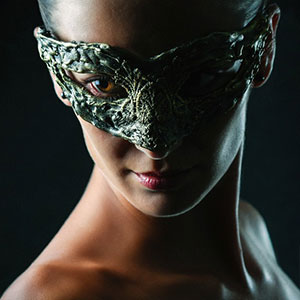 Woman with vintage eye mask