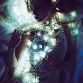 Art portrait of a girl on lighting background
