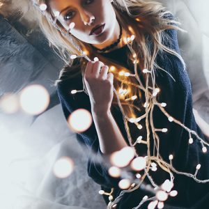 Christmas lights fashion portrait