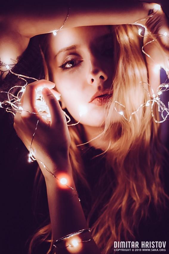 Close up portrait of luminescence light girl photography portraits fashion  Photo