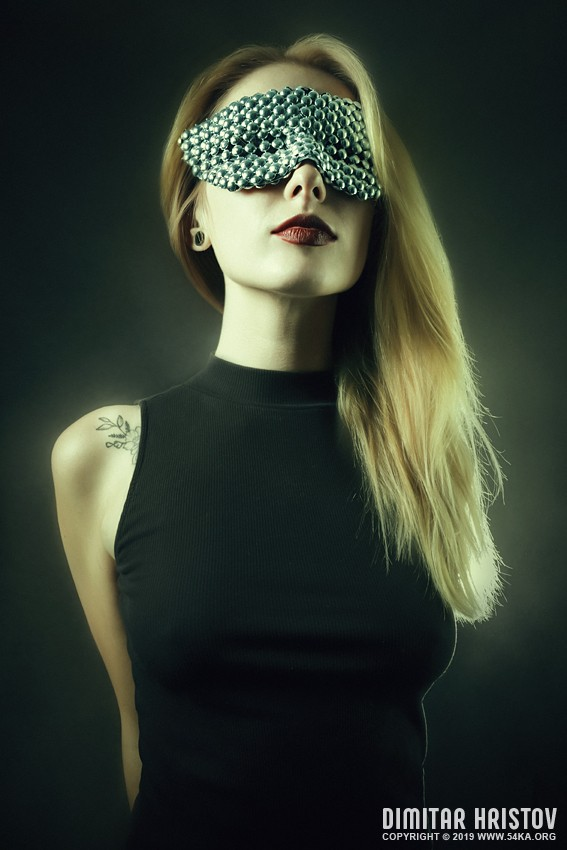 Portrait of a girl with famous bubble eye carnaval mask photography venetian eye mask portraits featured fashion  Photo