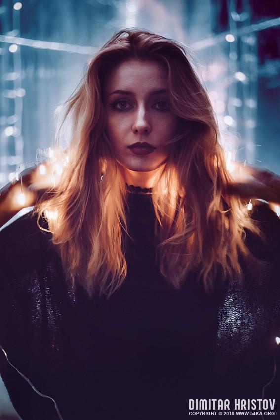 Portrait on luminescence background photography portraits featured fashion  Photo