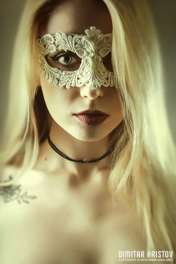 Woman with beautiful white lace mask photography venetian eye mask portraits featured fashion  Photo