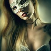 Woman with masquerade carnival mask